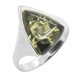 Natural Amber Ring Green Color and Silver Triangle Shape