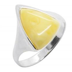 Ring Königlichen Bernstein und Silber 925/1000 Dreiecksform