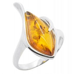 Bernstein und Silber Ring Cognac 925/1000