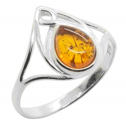 coñac anillo de ámbar y plata 925/1000, de estilo celta
