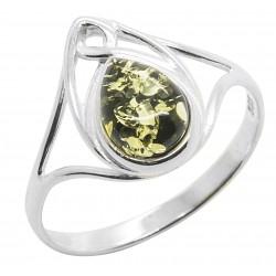 Ring grün Bernstein und Silber keltischen Stil