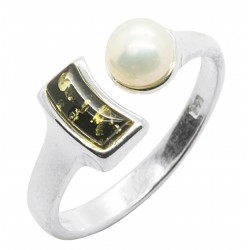 Anello ambra verde, perle naturali e argento 925/1000