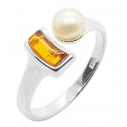 Bague en Ambre cognac, perle naturel et Argent 925/1000