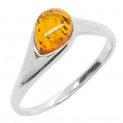 Anello in argento e ambra cognac 925/1000