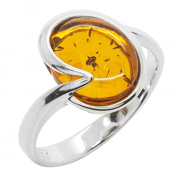 Bague en Ambre cognac et Argent 925/1000, forme ronde