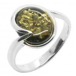 Ring in green amber and silver 925/1000, round shape