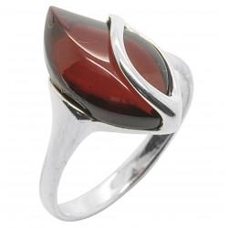 Ring natürliche Bernstein kirschrote Farbe und Silber 925/1000