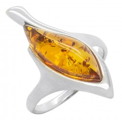 Bernstein Ring natürliche Farbe Cognac und Silber 925/1000