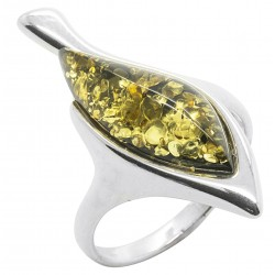 Ring in natural green amber and silver 925/1000