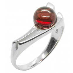 Cherry and Silver 925/1000 Amber Ring