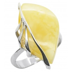 Royal amber and silver leaf ring