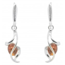 Earring Silver and Amber twisted effect