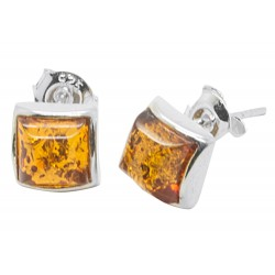 Square and Amber silver earring
