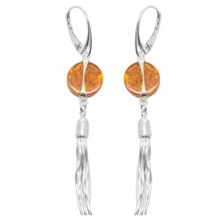 Silver earring and natural amber button