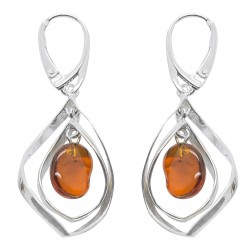 Modern Silver Earring and Floating Amber Pearl