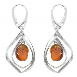 Moderno orecchino argento e ambra tallone galleggiante