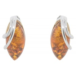 Amber and silver cabochon earring