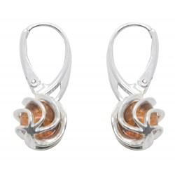 Ohrringe Bernstein und Silber Twisted Gitter