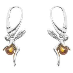 Pendiente de plata Hada ámbar y perlas