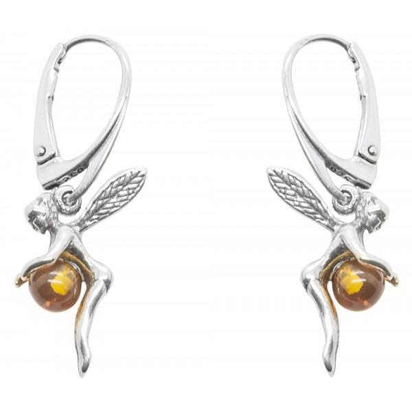 Boucle d'oreille Fée en Argent et perle d'Ambre