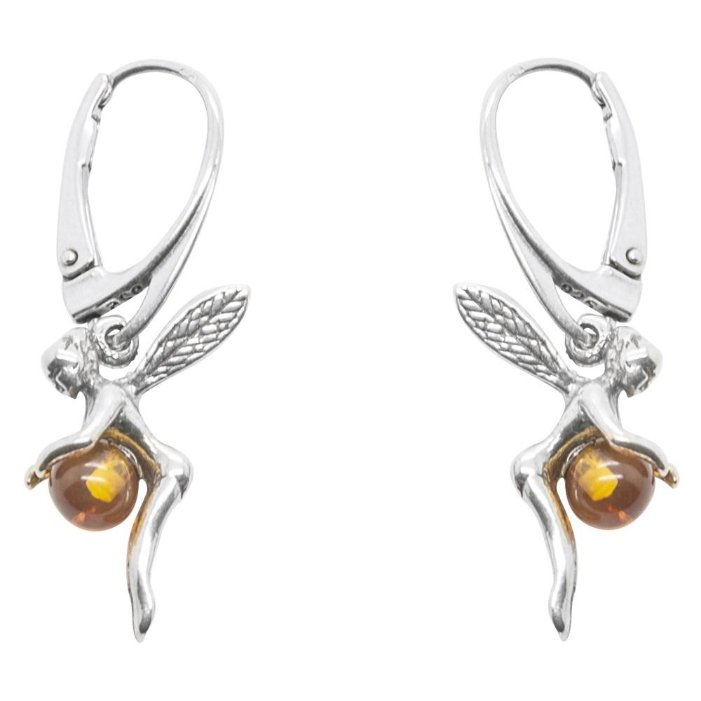 boucle d 39 oreille f e en argent et perle d 39 ambre bijoux d. Black Bedroom Furniture Sets. Home Design Ideas
