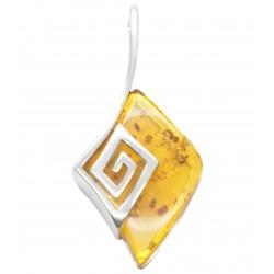 Pendentif greco/romain en ambre miel et argent 925/1000