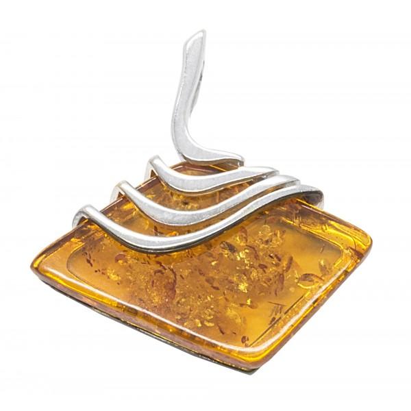 Pendentif en ambre miel et argent style Egyptien