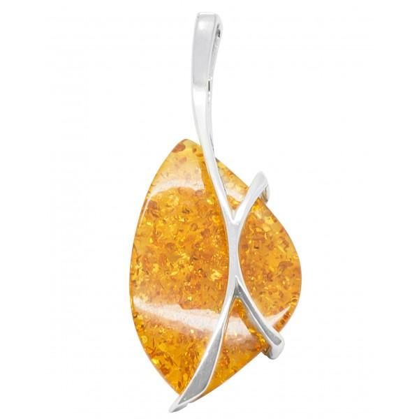 Gros pendentif en ambre miel et argent 925/1000
