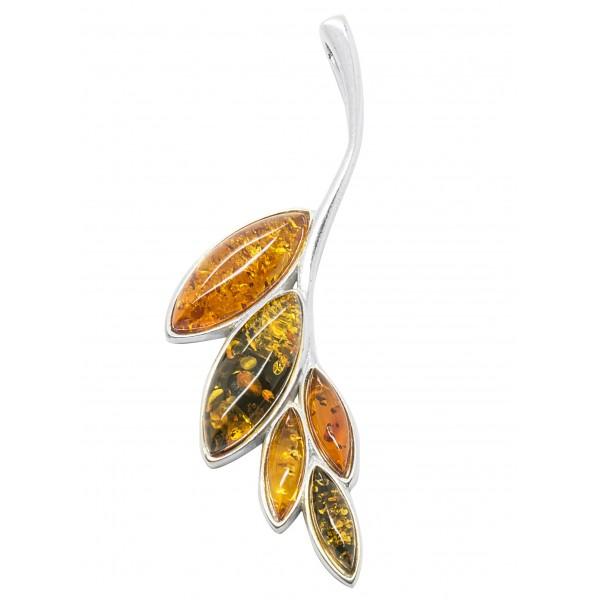 Pendentif argent et ambre naturel en forme de feuille