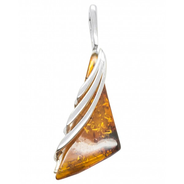 Pendentif ambre et argent 925/1000 en forme de triangle