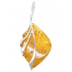 Gros pendentif en argent 925/1000 et ambre miel