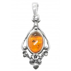 Cognac amber pendant and 925/1000 silver