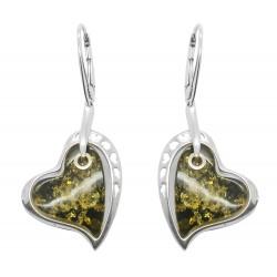 Boucle d'oreille argent et ambre vert en forme de coeur
