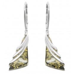 Ohrring Silber und natürliche grüne Bernstein