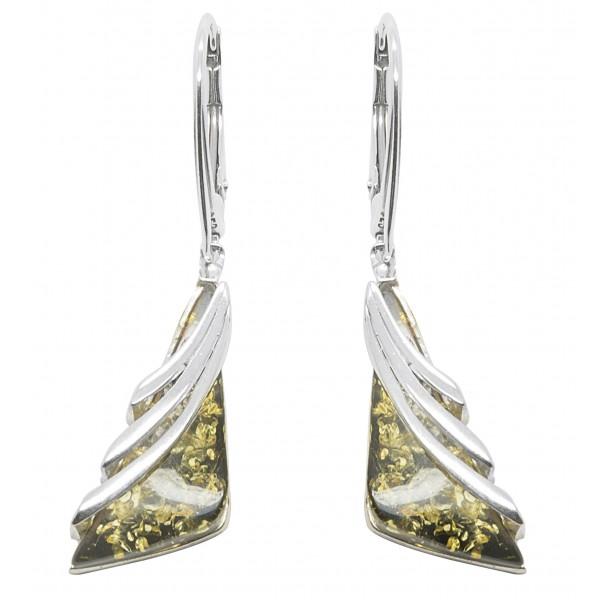 Boucle d'oreille argent et ambre vert naturel