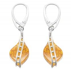 Ohrring Silber Perle und Bernstein Honig