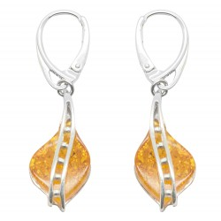 Pearl silver and honey amber earring