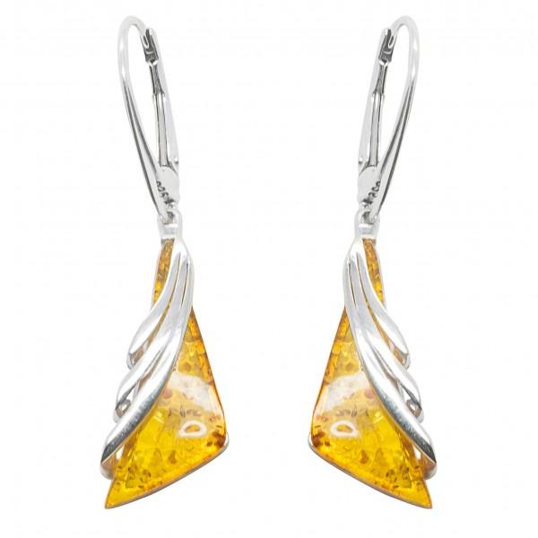 Boucle d'oreille argent et ambre miel