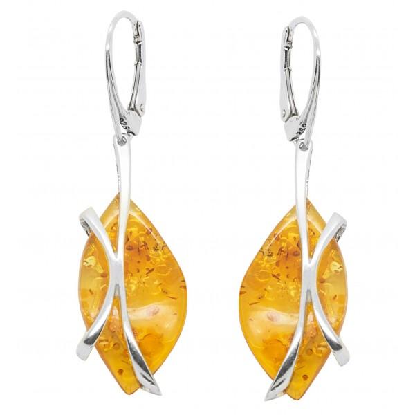 Boucle d'oreille en ambre couleur miel et argent 925/1000