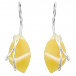 White and silver amber earrings
