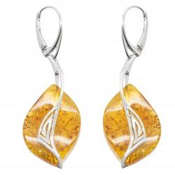 Orecchino d'argento 925/1000 e miele ambra