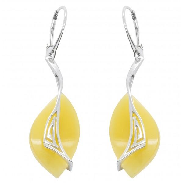 Boucles d'oreilles ambre royal et argent