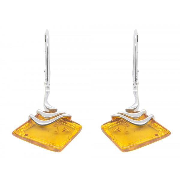 Boucle d'oreille argent et ambre miel forme losange