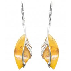 Agrandir l'image Boucle d'oreille en ambre miel et argent 925/1000