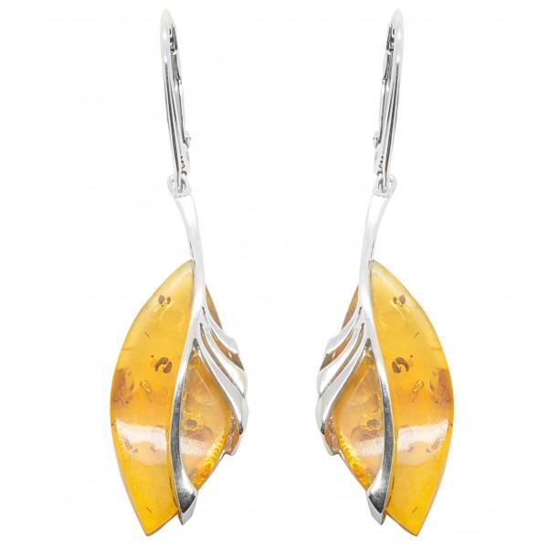 Boucle d'oreille en ambre miel et argent 925/1000