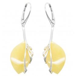 Boucles d'oreilles feuille Argent et ambre Royal