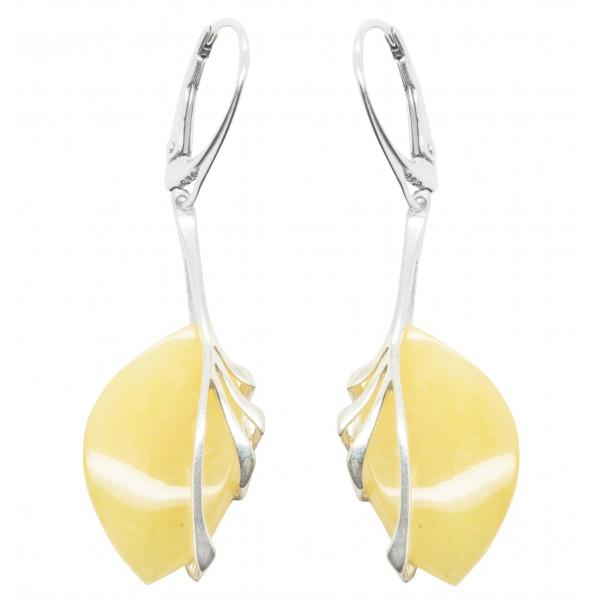 Boucles d'oreilles ambre royal et argent 925/1000