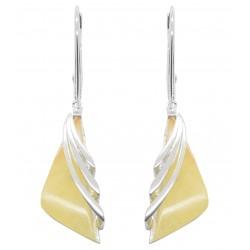 Boucles d'oreilles femme en Argent avec pierre d'ambre blanc