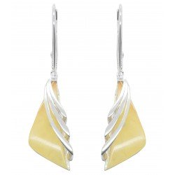 Silver earrings with white amber stone