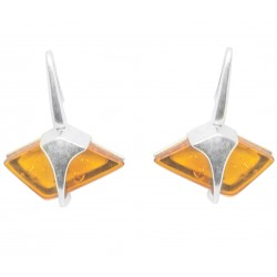 Sterling silver earrings with diamond shape honey amber
